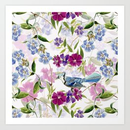 Vintage & Shabby Chic - Blue Jay and Flowers Art Print