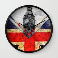 uk Wall Clocks featuring Flags - UK by Ale Ibanez
