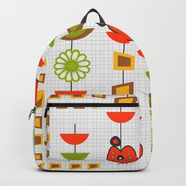 Fresh mid century with apples and flowers Backpack