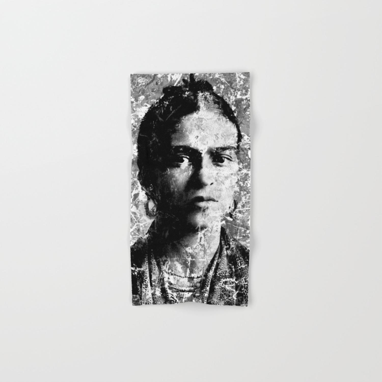 Frida kahlo black white version hand bath towel by vonis society6