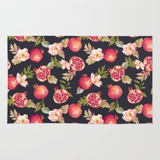Pomegranate patterns - floral roses fruit nature elegant pattern Rug