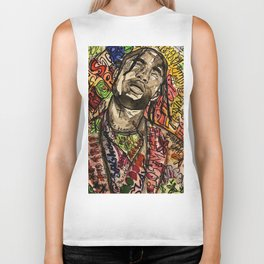 La flame,travis,music,hiphop,poster,astro world,tour,wall art,artwork,painting,colourful Biker Tank