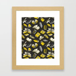 Spellbooks, Yellow Framed Art Print