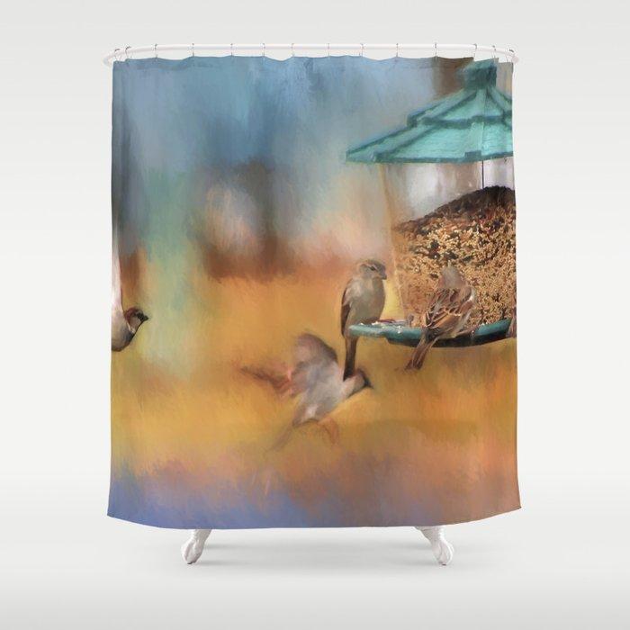 Finches Around A Feeder Shower Curtain