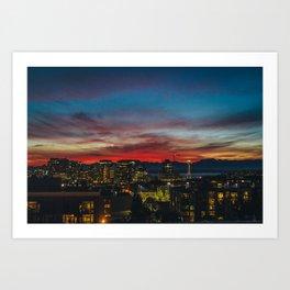 Seattle Sunset Art Print