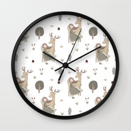 Girl and Deer - white Wall Clock