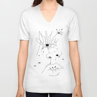 sketch V-neck T-shirts featuring Sketch by LEIGH ANNE BRADER