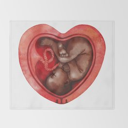 Watercolor fetus inside the heart shaped Throw Blanket