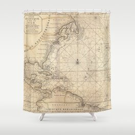 1683 Map of North America, West Indies, and Atlantic Ocean Shower Curtain