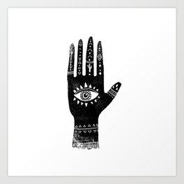 Hand with eye linocut black and white minimal boho third eye hamsa Art Print