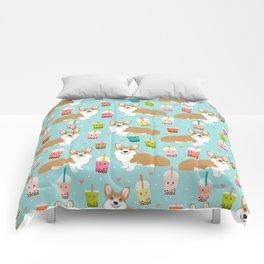 corgi boba tea bubble tea cute kawaii dog breed fabric welsh corgis dog gifts Comforters