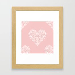 Millennial Pink Blush Rose Quartz Hearts Lace Flowers Pattern Framed Art Print