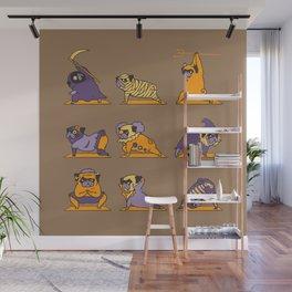 Pug Yoga Halloween Monsters Wall Mural