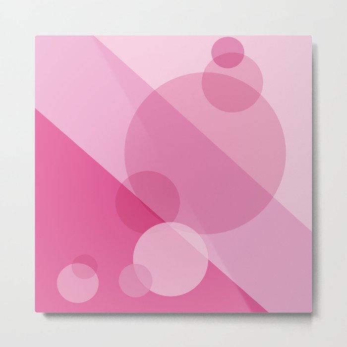 Pink Spheres Abstract Metal Print