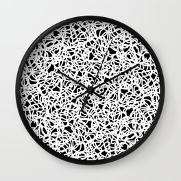 Chaotic white tangled ropes and dark lines. Wall Clock