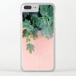 Pink Green Leaves Clear iPhone Case