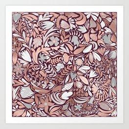 Rose Gold Burgundy Floral Illustration Pattern Art Print