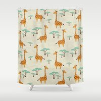 giraffes Shower Curtains featuring Giraffes by BlueLela