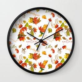 Autumn Leaves Hello Fall! Wall Clock