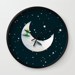 Little Green Man on Moon and Stars Wall Clock