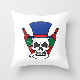 A illustration of a unique Smoking Skull with Alcohol Wine Whiskey Tequila Cocktail Smoker Throw Pillow