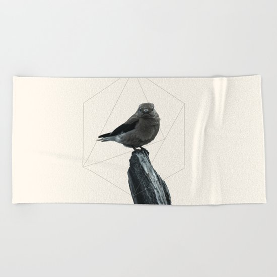 Geometrical Bird Beach Towel