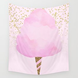 Pink & Gold Glitter Cotton Candy Wall Tapestry