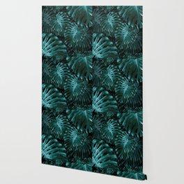 Tropical Monstera Jungle Night Leaves Pattern #1 #tropical #decor #art #society6 Wallpaper