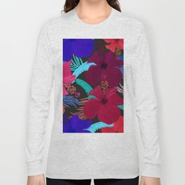 Hand drawn hibiscus, banana, palm leaves tropical pattern black background Long Sleeve T-shirt