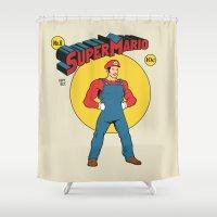 super mario Shower Curtains featuring Super Mario Comic by Akiwa