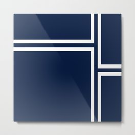 Strong Deco - Minimalist Geometric Pattern in White and Nautical Navy Blue Metal Print