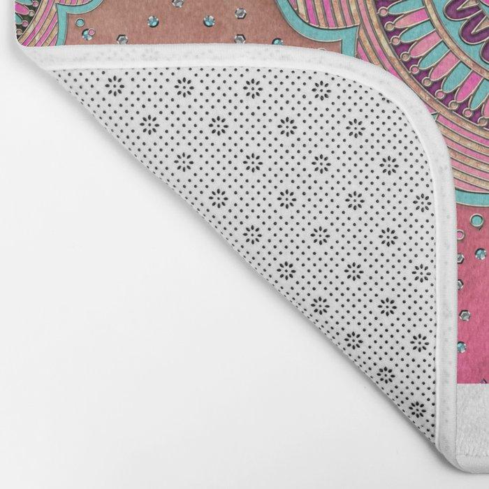 India Pink Mandala Pattern Bath Mat