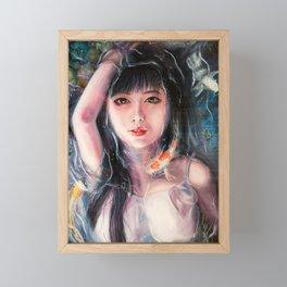Girl in Koi Fish pond, girl underwater oil painting Framed Mini Art Print