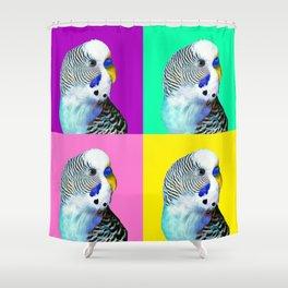 Blue Boy Budgie Bird Shower Curtain