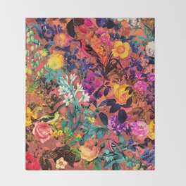 Floral and Birds II Throw Blanket