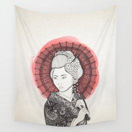 Japanese flag and Geisha Wall Tapestry