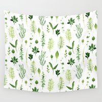 leaves Wall Tapestries featuring Leaves by Vicky Webb