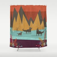 wolves Shower Curtains featuring Wolves by Kakel