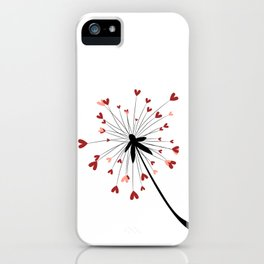 Floating Dandelion Heart Seeds by Cam Fam Creations iPhone Case