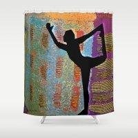 yoga Shower Curtains featuring Yoga by Vicki Lynn Rae