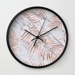 Rose gold palm fronds on marble Wall Clock