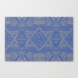 Mirror Pattern Tribal Style -Deep blue & yellow Canvas Print