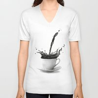 coffee V-neck T-shirts featuring Coffee by Thubakabra
