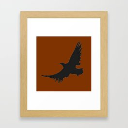 COFFEE BROWN FLYING BIRD SILHOUETTE Framed Art Print