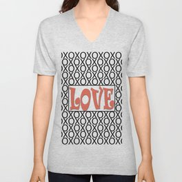 Pantone Living Coral LOVE XOs (Hugs and Kisses) Typography Art Unisex V-Neck