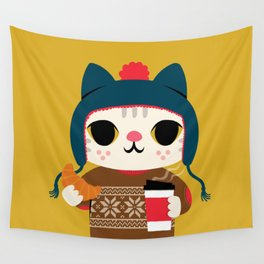 Holiday - Cat in a Sweater / Mustard Yellow Wall Tapestry