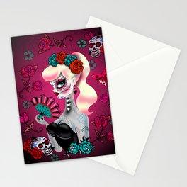 Rockabilly Blonde Sugar Skull Girl Stationery Cards