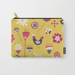 Scandi Floral Yellow Carry-All Pouch
