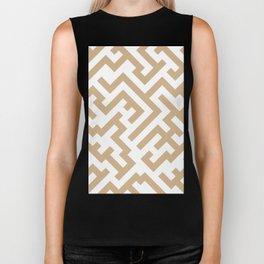 White and Tan Brown Diagonal Labyrinth Biker Tank