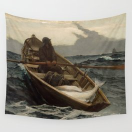 The Fog Warning / Halibut Fishing by Winslow Homer Wall Tapestry